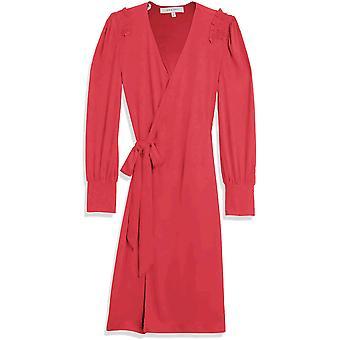 Brand - Lark & Ro Women's Matte Jersey Long Sleeve V-Neck Smocked Shoulder Detail Wrap Dress