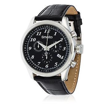 Montre Homme Smalto chronographe noir - bracelet cuir - 42 mm