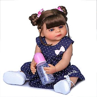 55Cm blue dress original authentic designed reborn baby girl two colors skin full body soft silicone doll handmade