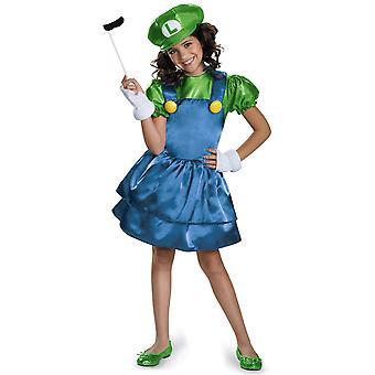 Luigi Skirt Version Super Mario Video Game Cartoon Dress Child Girls Costume