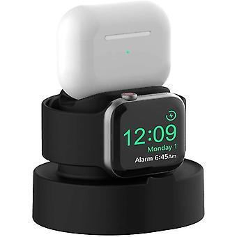 Oplaadstandaard voor Apple Watch SE, Series 6, 5, 4, 3, 2, 1, 44 mm / 42 mm / 40 mm / 38 mm, eenvoudige installatiehouder voor AirPods Pro Charger Dock(zwart)