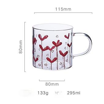 Glass Simple Girl Heart Heart Shaped Cup Pattern High Boron Silicon Heat Resistant(pink)