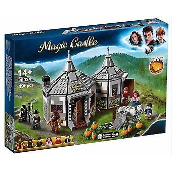 Kompatibel med Lego 80024 Harry Potter-serien av Megs hut monterade liten partikelmodellbyggnadsblockleksak (496 st)