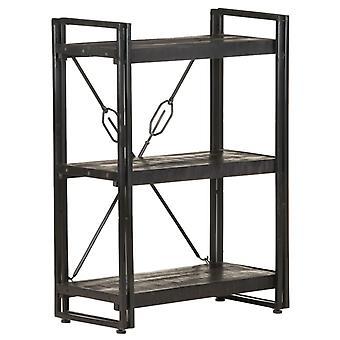 vidaXL bibliothèque 3 compartiments noir 60x30x80 cm bois massif de mango