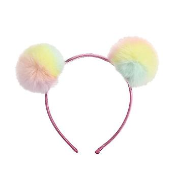 6PCS Cute Solid Color Panda Ears Hair Bands For Girls Kids Colorful Fluffy Pompom Ball Unicorn