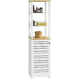 SoBuy BZR43-W Wysoka szafka łazienkowa z 3 otwartymi przegródkami