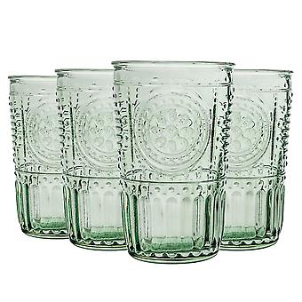 8x Romantic Highball Glasses Decorated Water Juice Cocktail Tumblers 340ml Green