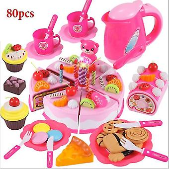 Toy kitchens play food pink-80pcs role play birthday cake food cutting set kids toy