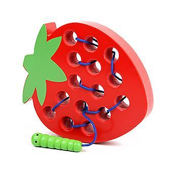 木製の子供の教育玩具楽しい木製教育ゲーム昆虫は果物リンゴ梨子供の贈り物を食べる