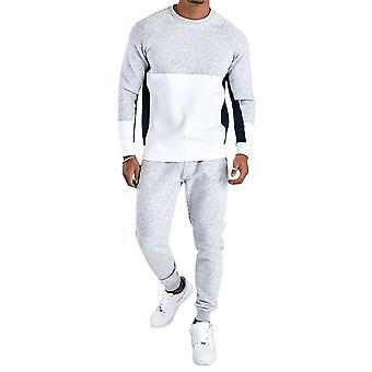 Men's Stitching Round Neck Warm Sweater Suit