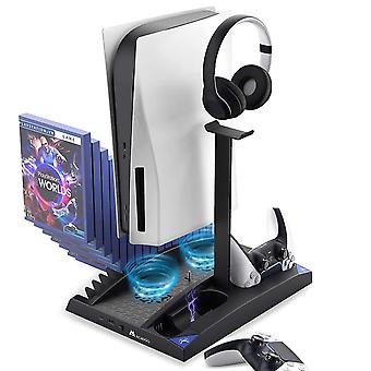 Upgraded Vertical Stand With Cooling Fans For Ps5 Disc & Digital Editions, Dual Controllers Charger, Built-in Game Storage And Headset Holder, 17 Game