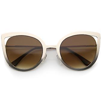 Naisten rohkea metallirunko lovea liukuvärin linssin Cat Eye aurinkolasit 59mm