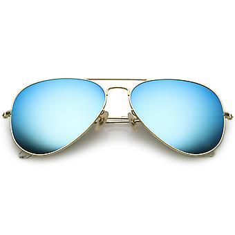 Премиум большой классический матовый металлический авиатор солнцезащитные очки с цветными зеркальное стекло объектив 61 мм