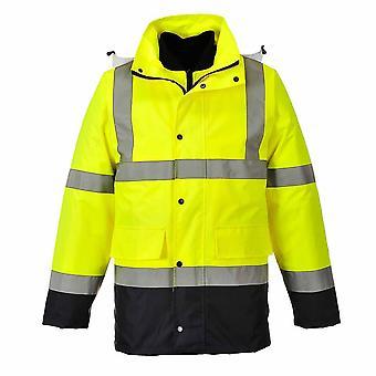 sUw Mens Hi-Vis Safety 4-in-1 Contrast Traffic Workwear Jas
