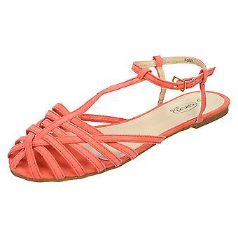 Ladies Spot på platta Strappy T Bar Sandal
