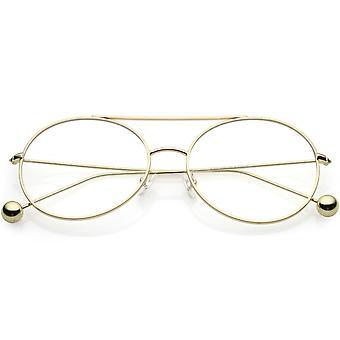 Premium Oversize Round Eyeglasses Metal Double Nose Bridge Clear Flat Lens 59mm