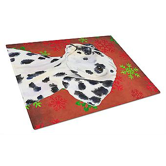 Dalmatian Red and Green Snowflakes Holiday Christmas Glass Cutting Board Large