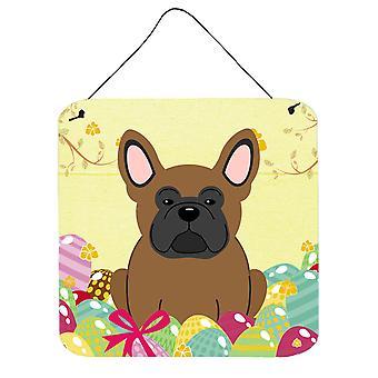 Páscoa ovos francês Bulldog parede marrom ou porta-impressões de suspensão