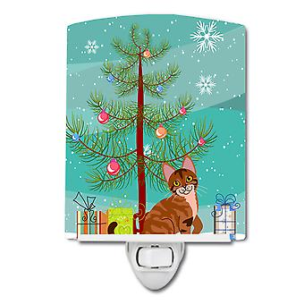 Sokoke kat Merry Christmas Tree keramische nachtlampje