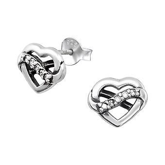 Heart - 925 Sterling Silver Cubic Zirconia Ear Studs - W32074X