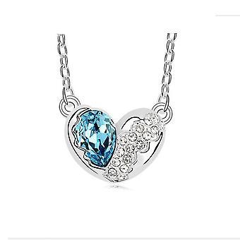 Amour bleu argent CZ cristal colliers chaîne pendentif