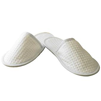 Towel City Unisex Adults Waffle Mule Slippers White 4-7,8-12