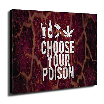 Wine Beer Poison Wall Art Canvas 40cm x 30cm | Wellcoda