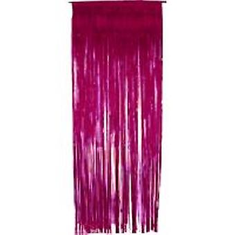 Foil Slashed Curtains Cerise