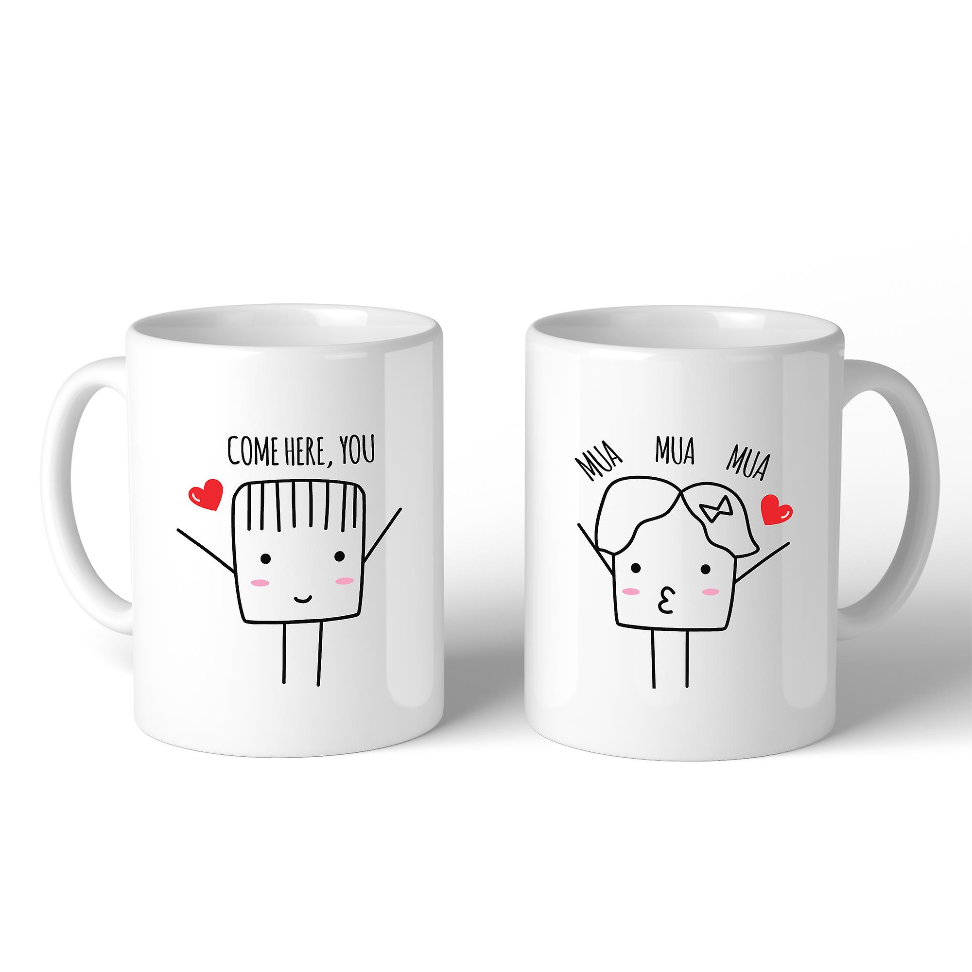 Come Here Mua Mua Mua White Matching Couple Mugs Cute Wedding Gifts Fruugo Au