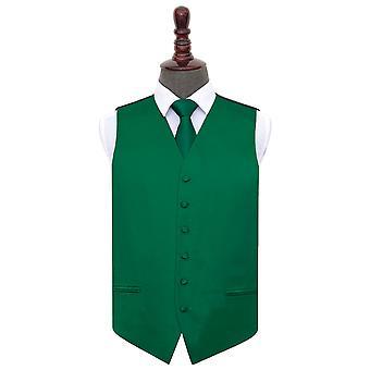 Emerald Green Plain Satin Wedding Waistcoat & Tie Set