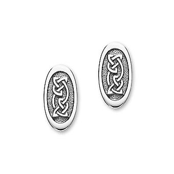 Sterling Silver Traditional Celtic Eternity Knotwork Design Pair of Earrings - E1787