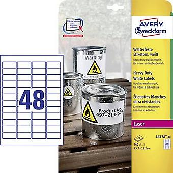 Avery-Zweckform L4778-20 Labels 45,7 x 21.2 mm Polyester film wit 960 PC('s) permanente All-purpose etiketten, weerbestendige etiketten