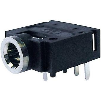Cliff FC68133 3.5 mm audio jack Socket, horizontal mount Number of pins: 4 Stereo Black 1 pc(s)