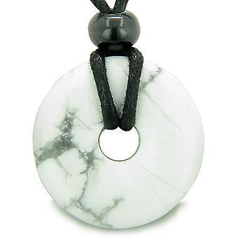 Amulette chanceux magique Donut Howlite blanche Gemstone cristaux Aura ProtectiHealing pendentif collier