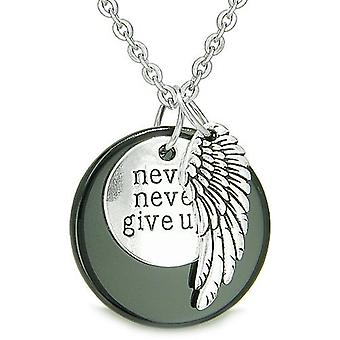 Angel Wing Inspirational Never Never Give Up Amulet Medallion Lucky Charm Onyx Pendant Necklace