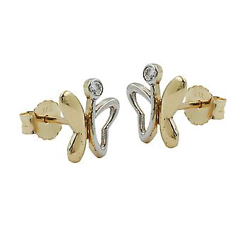 Ear plug bicolor earring gold cubic zirconia Butterfly 9 KT gold 375
