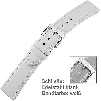 Ladies watch strap with stainless steel buckle white 20 mm leather