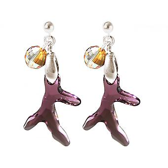 Ladies earrings 925 Silver coral violet violet MADE WITH SWAROVSKI ELEMENTS® 3,5 cm