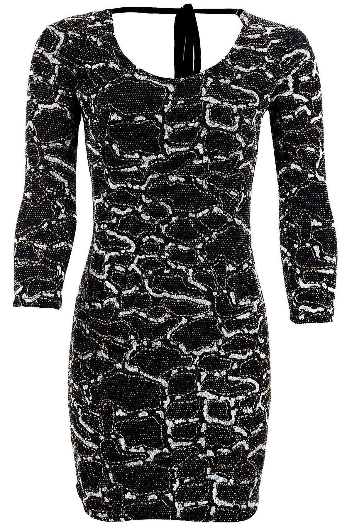 Ladies 3/4 Sleeve Glitter Gathered Tie Low Back Snake Print Womens Bodycon Dress