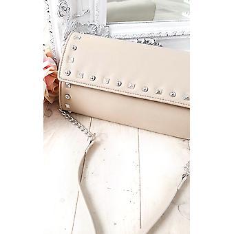IKRUSH Womens Rosa gesteppt Gold Nieten Clutch-Tasche
