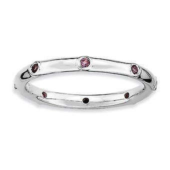 925 Sterling Sølv Bezel Polert Rhodium belagt stables uttrykk Rhodolite Garnet Ring Smykker Gaver til kvinner -