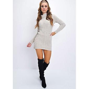 Cable Knit Turtleneck Bodycon Dress Beige