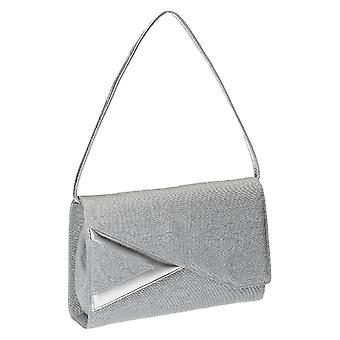 Light grey satin and leather evening clutch bag