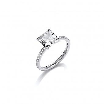 Cavendish Franska CZ Band med Square Solitaire Sterling Silver Ring