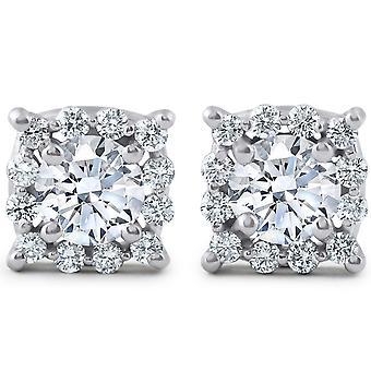 1 3 / 8ct подушки Halo алмазов шпильки 14K Белое золото