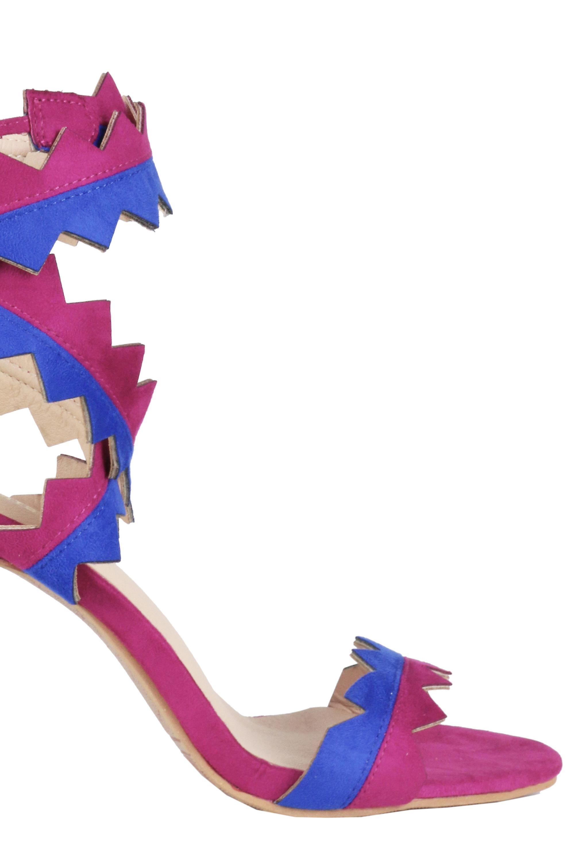 LMS Wraparound Zigzag Heel Sandals In Pink & Blue
