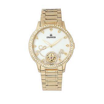 Empress Quinn Automatic MOP Semi-Skeleton Dial Bracelet Watch - Gold