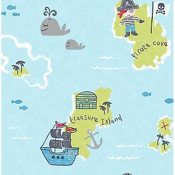 Carousel Pirates Boat Sea Treasure Map Childrens Boys Kids Blue Green Wallpaper