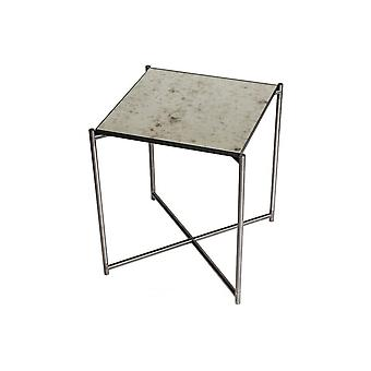 Gillmore Antiqued Glass Square Side Table With Gun Metal Cross Base