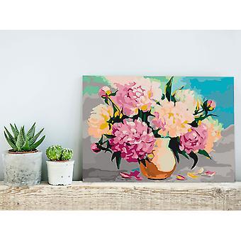Pintura de tela DIY - Flores em Vaso-60x40